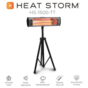 Heat Storm tradesman tripod 1500 watt outdoor infrared heater benefit diagram.  Silent heater, infrared heater, IPX4 weatherproof heater. tipover safety feature heater, no harmful fumes, pet heater