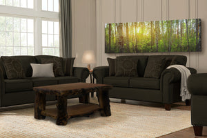 Glass space heater with tree print in living room.