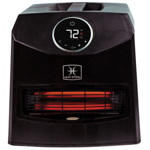 Mojave black 1500 watt space heater. On white background.