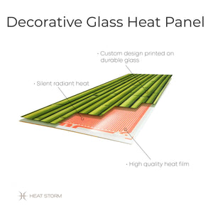 Layers of glass space heater. Efficien, Silent, Slim, and Effective.