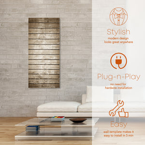 Stylish space heater. Plug an play no need for hardware installation. Wall template makes it easy to install in less than 5 minutes.