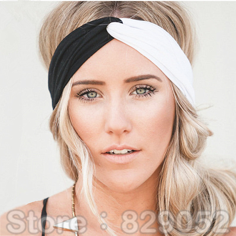 Yoga Patchwork Turban Headbands for Women - Twist Stretch Hairbands b6c8e2abd25