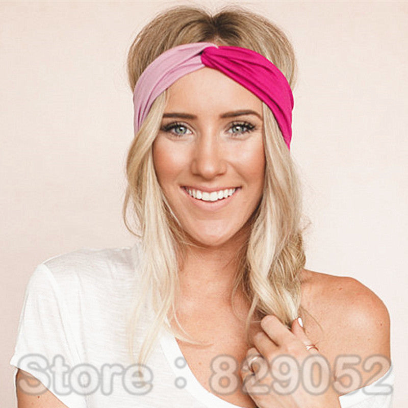 ... Yoga Patchwork Turban Headbands for Women - Twist Stretch Hairbands ... 43bc72e79e5