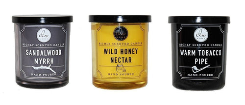 Dw Home Scented Candle Set - Warm Tobacco Pipe, Wild Honey Nectar and Sandalwood Myrrh - Single Wick 4 Ounces each