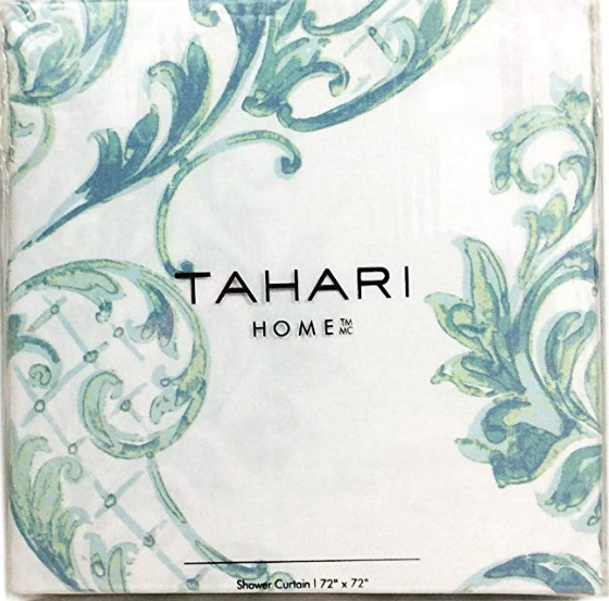Tahari Home Fabric Shower Curtain Chinoisserie Damask Paisley Scroll Medallion Turquoise, Aqua,