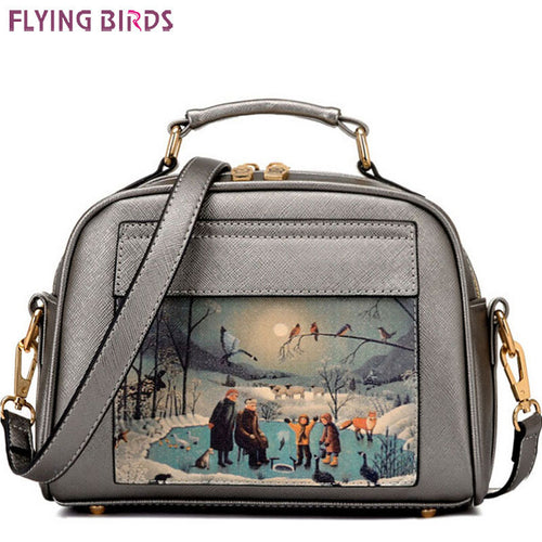 Flying birds! women leather handbag