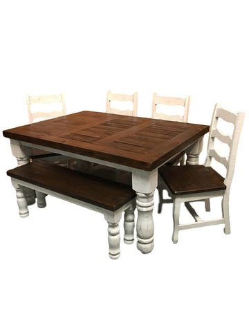 Farmhouse 2-Tone Table, 4 Chairs, And Bench