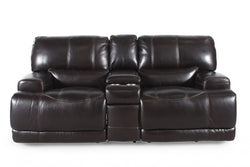 Simon Li Leather Longhorn Reclining Loveseat with Console
