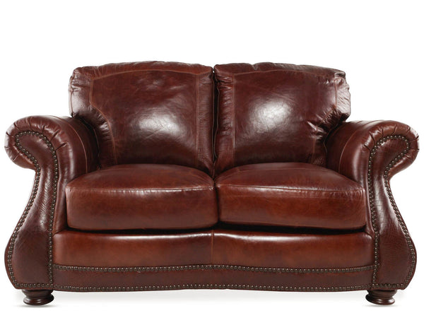 USA Leather Brandy with Alligator Loveseat