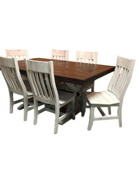 Warehouse Floor Table W/ 6 Victoria White Chairs