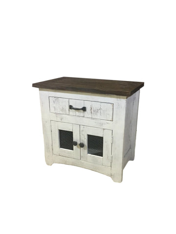 Mesh Nero White Nightstand