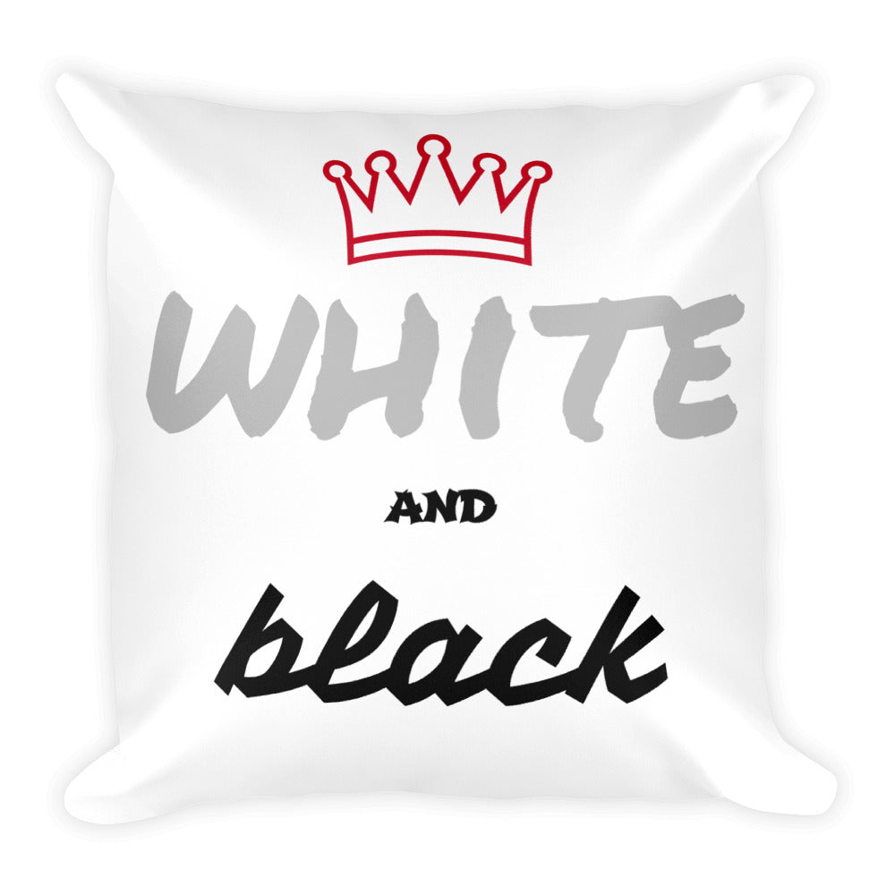 "Coussin carré - Blanc écriture "" white and black"""