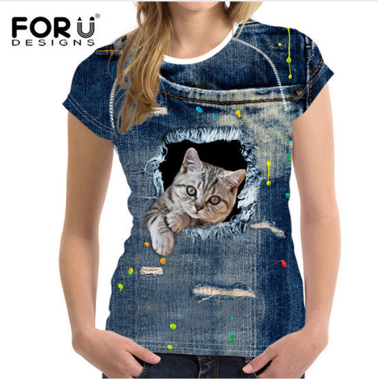 t-shirt ,au design surprenant , animal 3D chien/chat