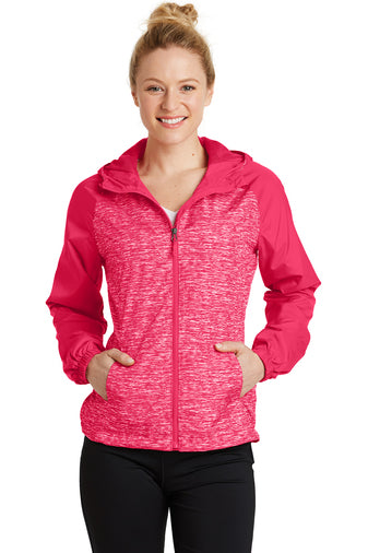 Tenure Employee- Ladies Heather Colorblock Raglan Hooded Wind Jacket