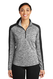 Ladies Electric Heather Colorblock 1/4-Zip Pullover