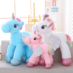 Giant Unicorn Soft Toy Blue White Pink