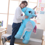 Blue Giant Unicorn Plush Toy with Woman