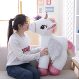 Giant Unicorn Soft Toy White with Woman