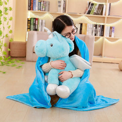 55cm Cute Plush Unicorn Toy Pillow and Air Conditioning Blanket