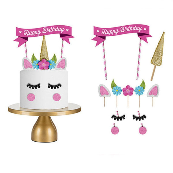 Happy Birthday Pink Unicorn Party Cake Topper