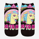 unicorn socks for women purple and black