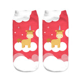 unicorn socks for women red