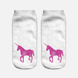 unicorn socks for women white with pink unicorn