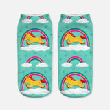 unicorn socks for women blue and yellow