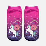 pink unicorn ankle socks dark pink