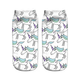 unicorn socks for women white and blue
