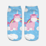 unicorn socks for women blue and pink