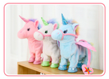 Walking Unicorn Toy Pink White Blue