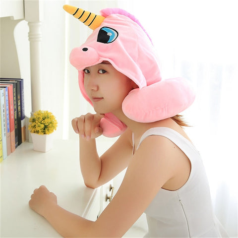 Woman wearing Pink Unicorn Neck Pillow