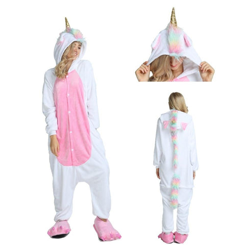 adult unicorn pajamas white and pink