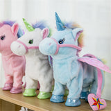 Electric Walking Unicorn Toy Pink White Blue