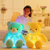 led light teddy bear blue and yellow with woman