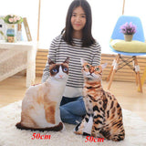 2 Plush Animal Cat Cushions with woman