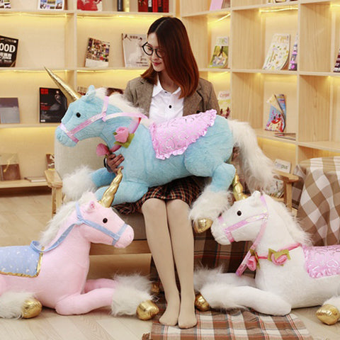 Unicorn Plush Toy Blue Pink White