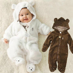 Bear baby fleece romper white and brown