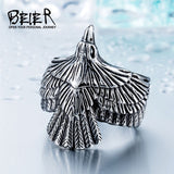 Stainless Steel Eagle Ring for Bikers Silver