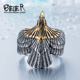 Stainless Steel Eagle Ring for Bikers Silver and Gold