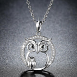 Zircon Owl Pendant | Crystal Owl Necklace For Women