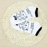 bamboo cat socks white with black text