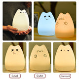 Cat Silicone LED Rechargeable Touch Sensor Night Light