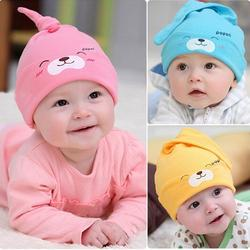 Baby beanie hat pink blue yellow