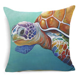 Sea Turtle Cotton Linen Cushion Covers Blue