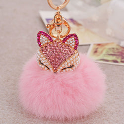 Fox Fur Ball Fluffy Key Chain Pink