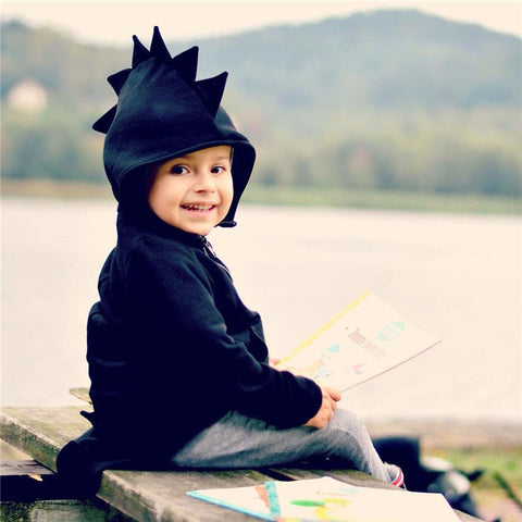 Child wearing Black Dinosaur Hoodie