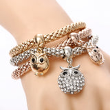 Crystal bracelet owls 3 pcs