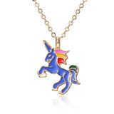 Enamel Unicorn Necklace For Girls Blue